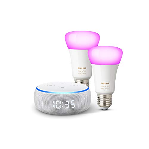 Echo Dot (3.Gen.) – smarter Lautsprecher mit Uhr und Alexa + Philips Hue Color LED-Lampe...