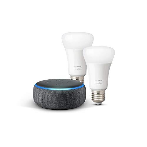 Echo Dot (3. Gen.), Anthrazit Stoff + Philips Hue White LED-Lampe Doppelpack (E27), kompatibel mit...