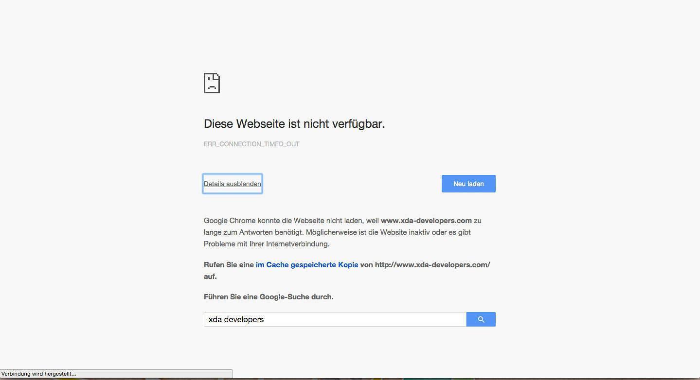 Seit gestern bekommt ich leider am Laptop folgende Fehlermeldung zu sehen: das XDA-Forum ist nicht erreichbar.