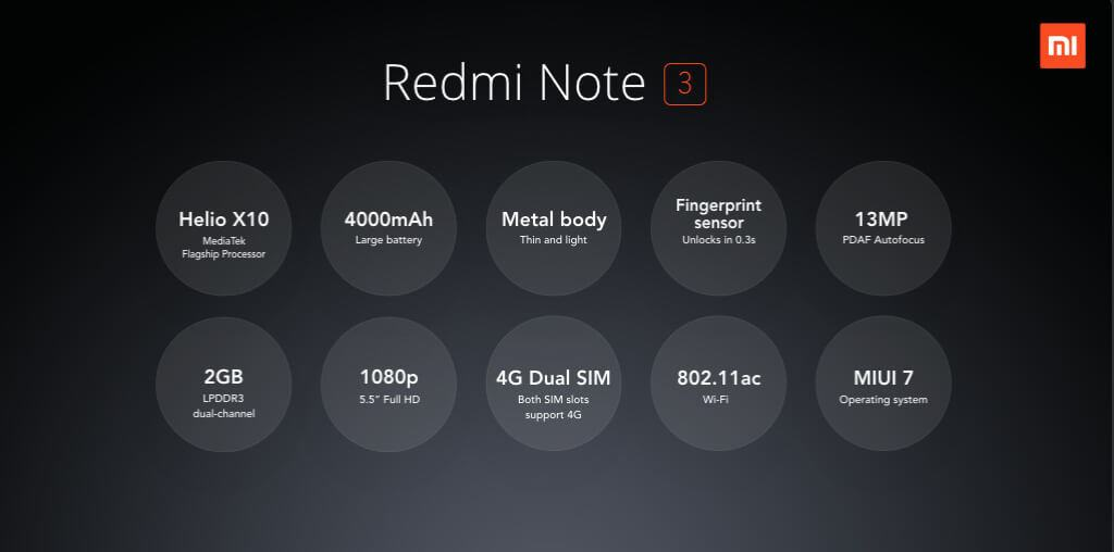 Xiaomi Redmi Note 3 e