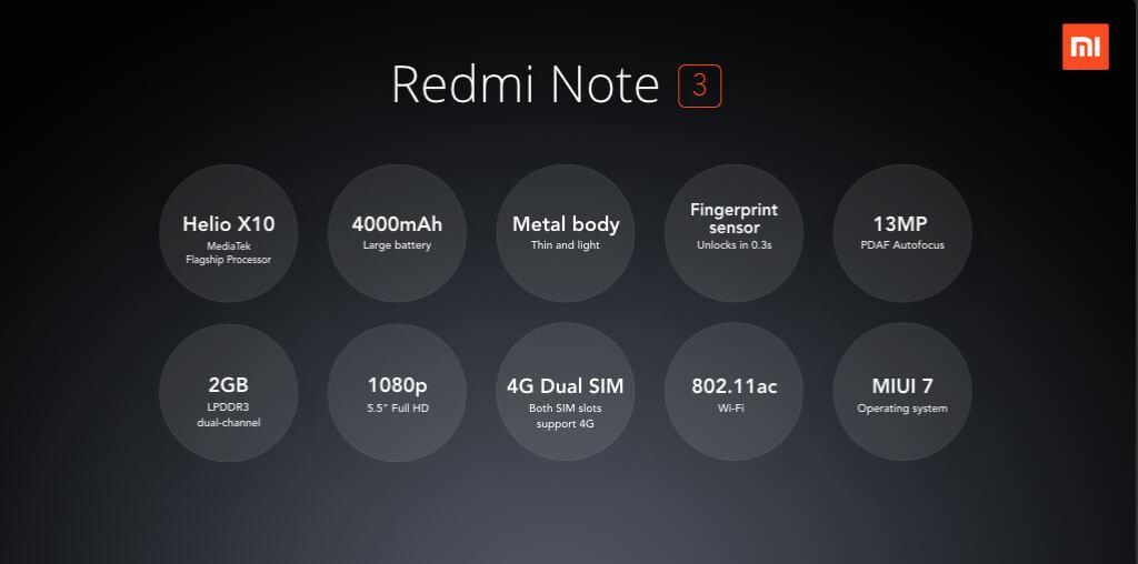 Xiaomi Redmi Note 3 e