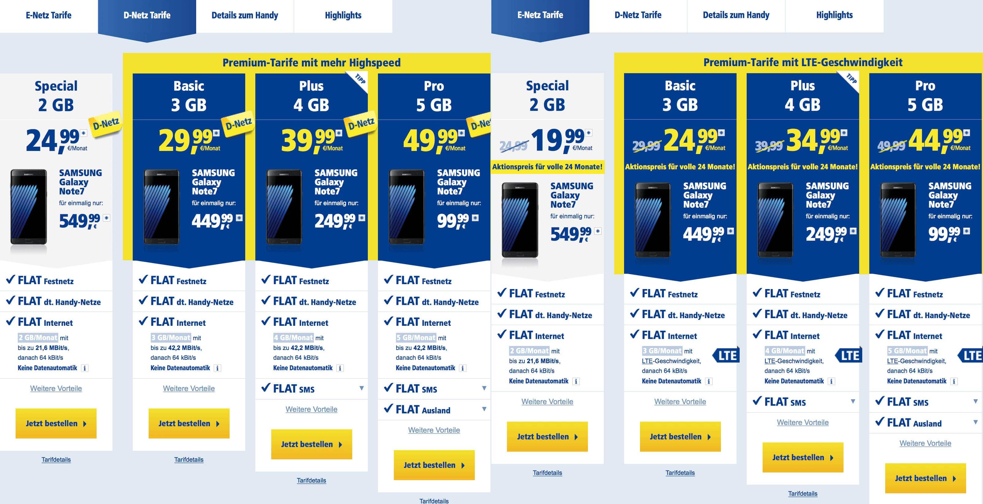 Galaxy Note 7 Preisvergleich 1und1