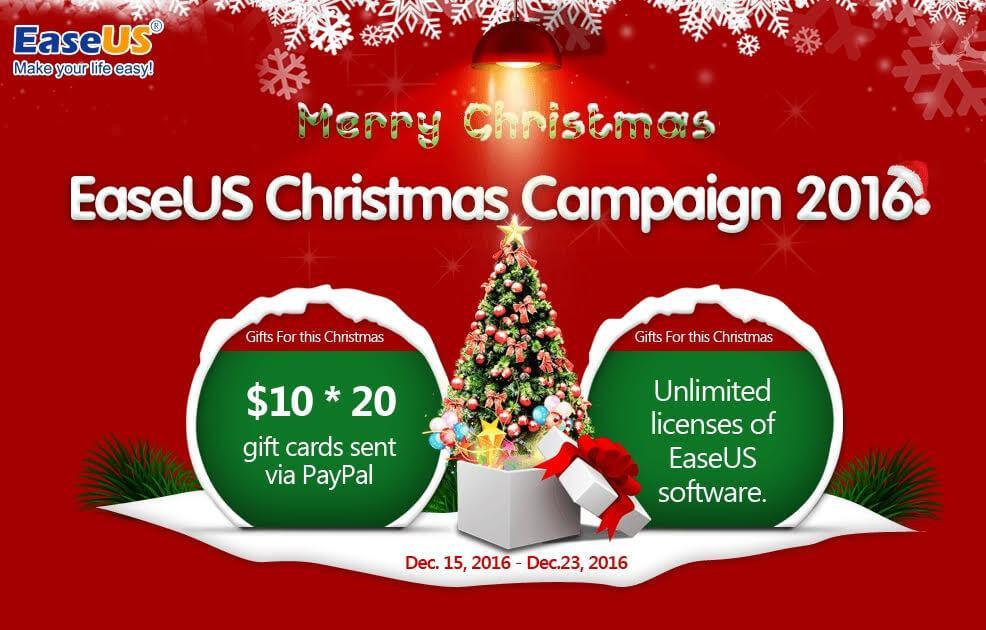 Weihnachten bei EaseUS mit Giveaways & 50% Rabatt