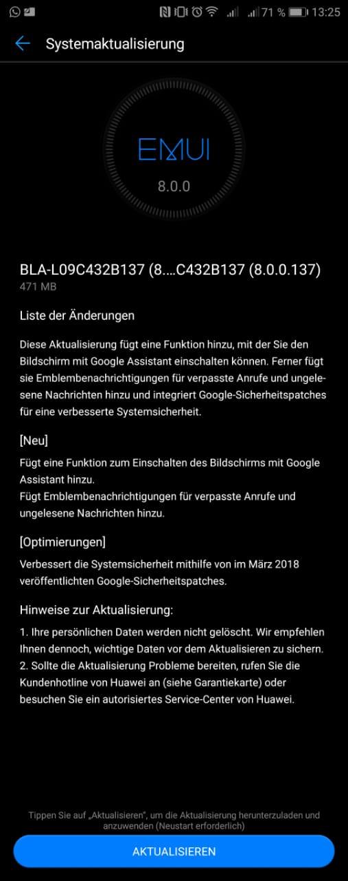 Huawei Mate 10 Pro Update (B137) : Google Assistant schaltet Bildschirm ein