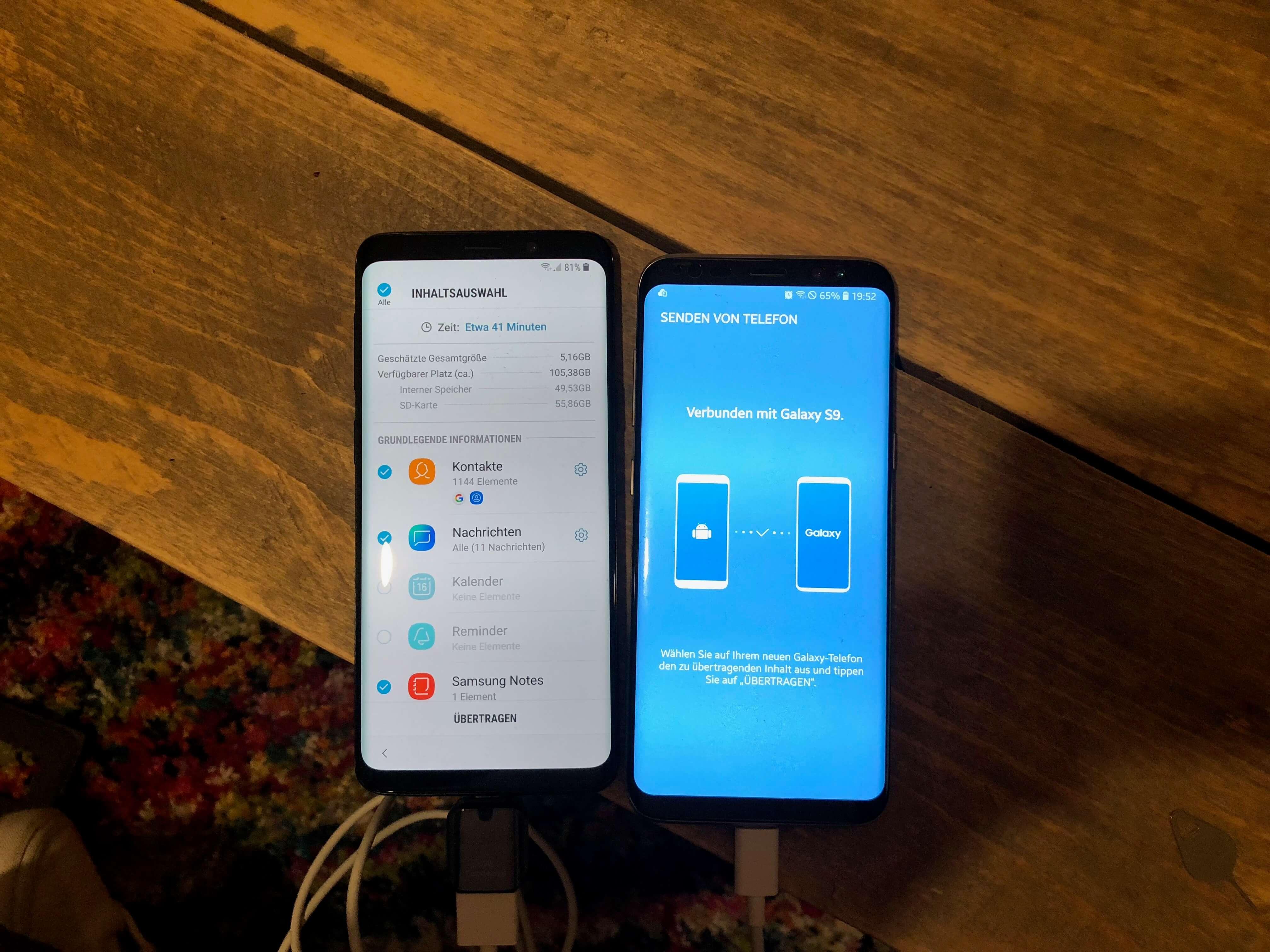 Alte Daten und Einstellungen werden vom S8 auf das S9 übertragen.