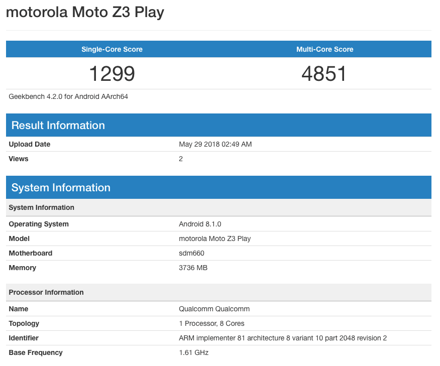 Moto Z3 Play Geekbench